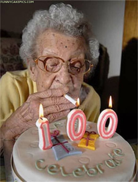 Smoking Granny turning 100